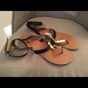 Black Velvet/Gold Metal Sandals